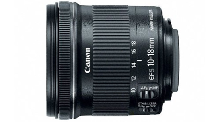 Canon EF-S 10-18mm f/4.5-5.6 IS lens on white background