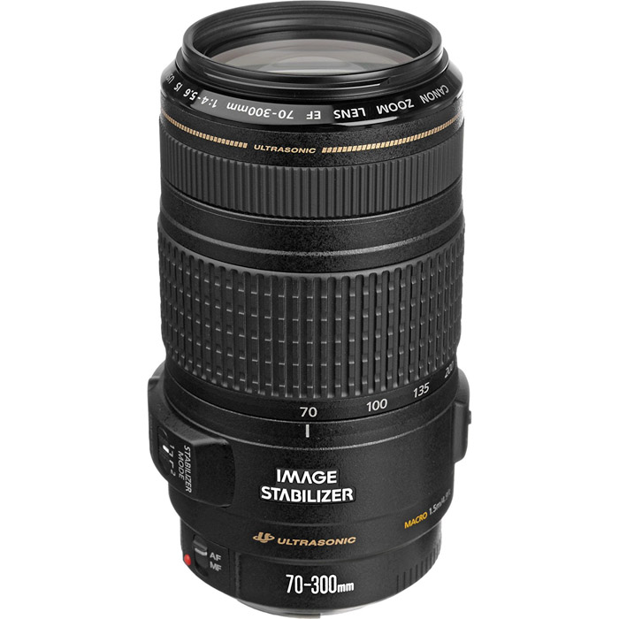 The Canon EF 70-300mm f/4-5.6 IS USM lens on white background