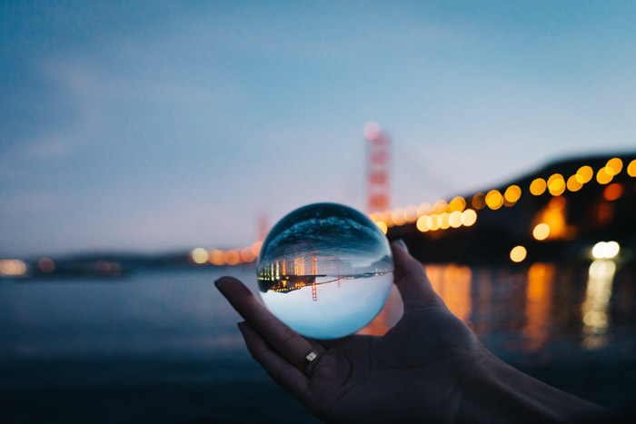 cool crystal ball photo capturing a cityscape