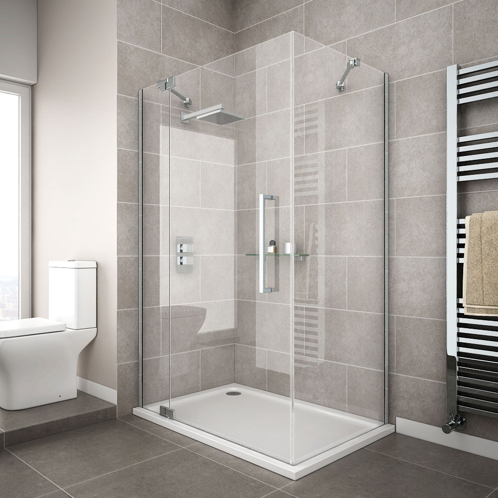 The Apollo Rectangular Frameless Shower Enclosure with hinged door