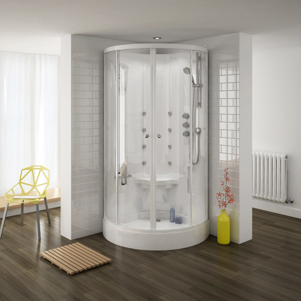 The Premier Quadrant Hydro Shower Cabin with massage feature
